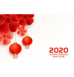 elegant chinese new year flower and lantern vector image