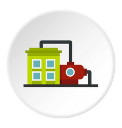 Factory building icon circle vector