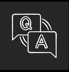 faq chalk white icon on black background vector image
