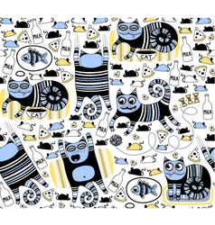 Funny cats seamless background vector image
