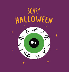 funny halloween greeting card with scary eye vector image