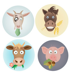 funny icons with domestic farm animals caw vector image