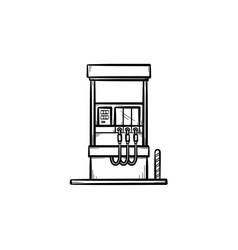 gas station hand drawn sketch icon vector image