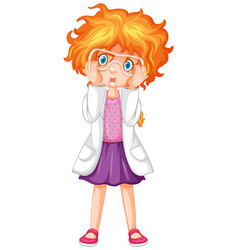 Girl in science gown and goggles vector