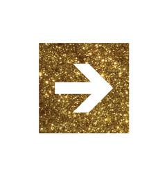 Glitter golden isolated arrow flat icon vector