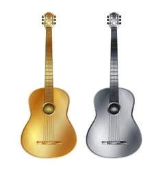 Gold and silver acoustic guitar vector image
