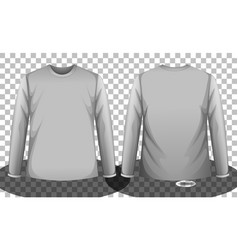 Grey long sleeve t-shirt front and back side vector