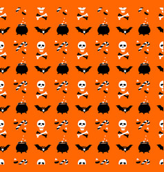 halloween party seamless pattern flat style vector image