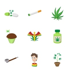 Hashish icons set cartoon style vector