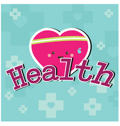Health pink heart blue background image vector