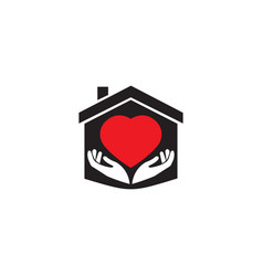 heart for logo hands and home design vector image