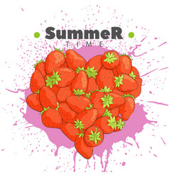 Heart of fresh strawberries vector