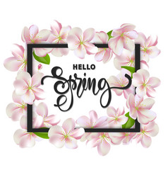 Hello spring background with cherry blossoms vector