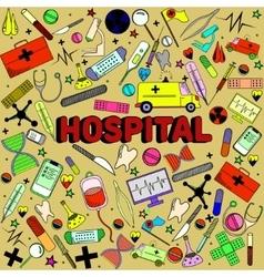 Hospital line art design vector image