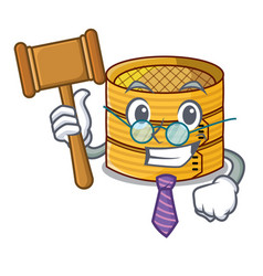 Judge wooden steamed food container on cartoon vector