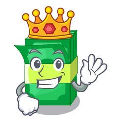 King set money in packing bundles cartoon vector