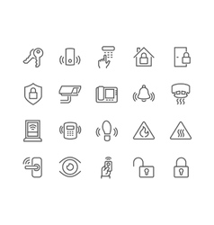 Line Home Security Icons vector image