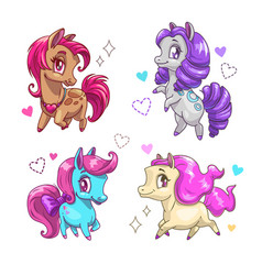 Little cute pony set vector