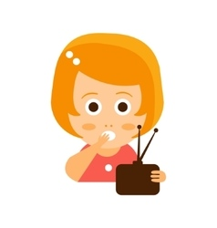 Little Red Head Girl In Red Dress Watching TV Flat vector image