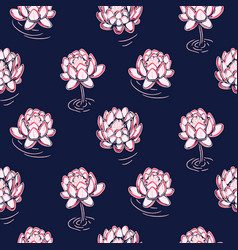 Lotus pink on dark blue seamless pattern vector