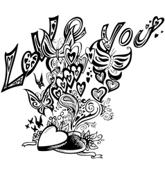 Open heart box I LOVE YOU vector image