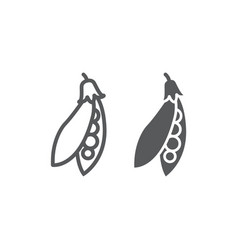 Pea pod line and glyph icon vegetable vector