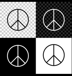 peace sign icon isolated on black white and vector image