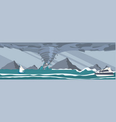 Picture the storm caught yachts the ocean vector