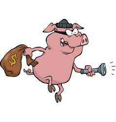 Pig robber with money bag vector