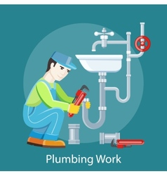 Plumbing Work Concept vector