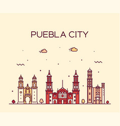 Puebla city skyline puebla mexico linear vector