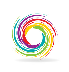 Rainbow circle swirl logo icon vector