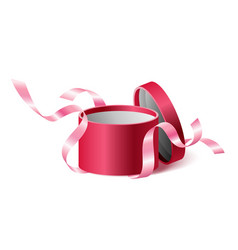 red pink opened 3d realistic round gift box with vector image