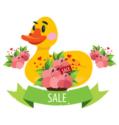 sale duckling swimming ring and flowers colored vector image