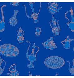 Seamless blue and pink pattern of arabic crockery vector