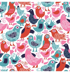 Seamless pattern with cute birds vector image