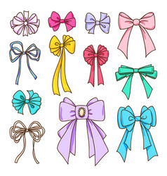 Set of color bows for the design vector