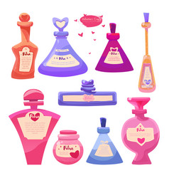 set valentines day items bottles of magic love vector image