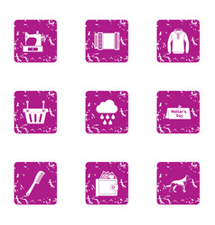 Sewing winter clothes icons set grunge style vector