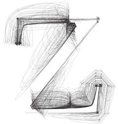 Sketch font Letter z vector image