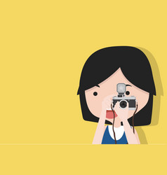 small girl is taking photo vector image