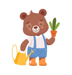 Smiling bear character carrying flower pot and vector