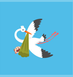 stork delivering a newborn baby flying bird vector image