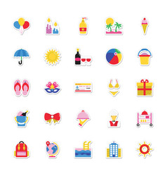 Summer and holidays icons 11 vector