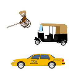 taxi cab icon set yellow taxi hand pulled vector image