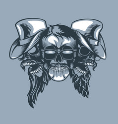 three skulls bearded band monochromic tattoo vector image