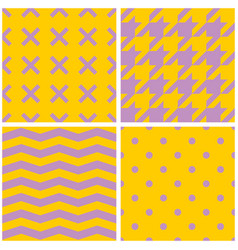 tile pattern set with x cross hounds tooth zig z vector image