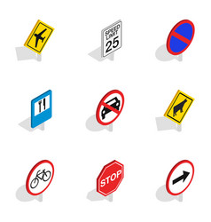 Traffic sign icons isometric 3d style vector