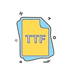 Ttf file type icon design vector