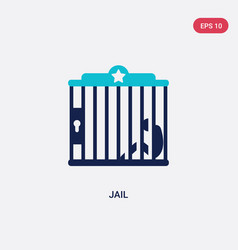 Two color jail icon from wild west concept vector